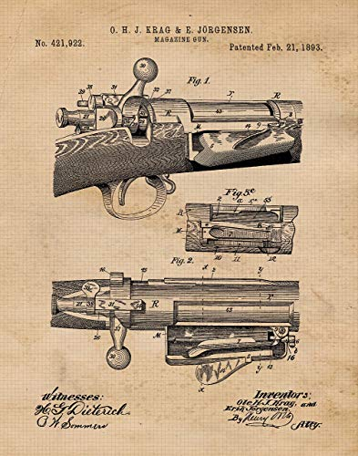 - Original 1893 Rifle Patent Poster Print- Set of 1 (One 11x14) Unframed Picture- Great Wall Art Decor Gifts Under $15 for Home, Office, Garage, Shop, Man Cave, Teacher, NRA Fan, Gun Collector-Owner