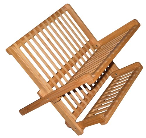 Totally Bamboo Compact Collapsible Bamboo Dish Drying Rack ()