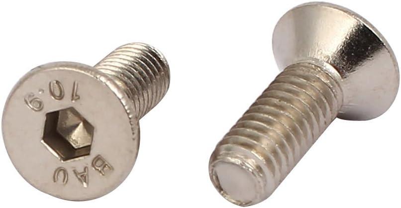 Aexit M4x12mm grado 10.9 avellanado cabeza plana hexagonal casquillo tornillo tornillo tono model: F8756IV-4090GK de plata 100pcs