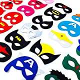 Dropplex 30 Superhero Masks Kids-Super Hero Party Supplies Justice League Birthday Favors … (Boys&Girls)