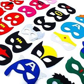 - 51dUYXqoURL - 30 Superhero Masks Kids-Super Hero Party Supplies Justice League Birthday Favors