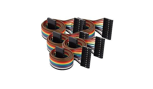 Amazon.com: eDealMax 5 piezas DE 2,54 mm de paso 10P Mujer de tablero Principal Doble de alambre de Puente de Cable DE 40 cm Longitud: Electronics