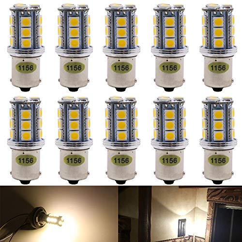 10-Pack 1156 BA15S 7506 1141 1003 1073 Extremely Bright Warm White 3000K 300Lums LED Light 10V-30V AC/DC,5050 18 SMD Car Replacement for Interior RV Camper Trailer Lighting Boat Yard Light Tail Bulbs