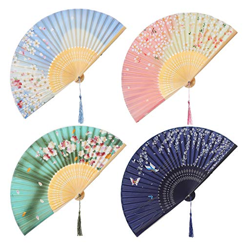 (BABEYOND 4pcs Japanese Style Floral Folding Hand Fan Vintage Handheld Silk Folding Fan with Different Patterns Folding Fan for Wedding Dancing Party (Japanese)