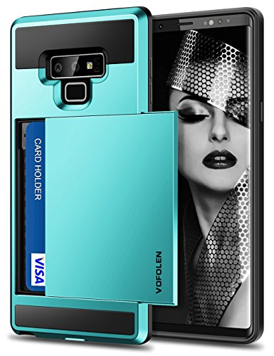 Vofolen Sliding Cover for Galaxy Note 9 Case Wallet Credit Card Holder ID Slot Pocket Heavy Duty Protection Dual Layer Protective Hard Shell Hybrid TPU Bumper Armor for Samsung Galaxy Note 9 Sky Blue