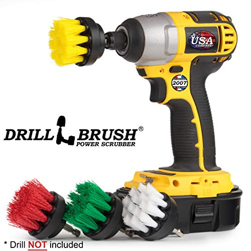 4 Piece Drill Brush Small Diameter Cleaning Brushes for Use on Carpet, Tile, Shower Track, and Grout Lines by Drillbrush