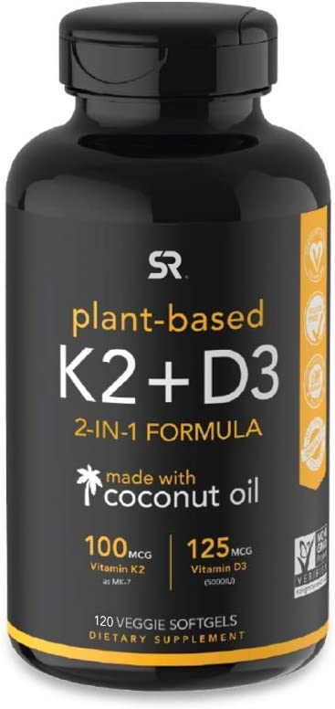 Vitamin D3 + K2 with Organic Coconut Oil - 60 Veggie Softgels: Health & Personal Care