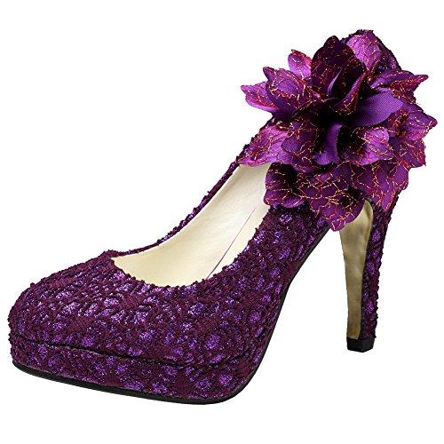 getmorebeauty Women's Purple Vintage Lace Flowers Party Dress High Heel 6 B(M) US