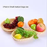 Aulzaju Handmade Bamboo Cane Tray Storage Fruit Wicker Tray Dining Room Small Container Box Handcrafted Bowl Snack Dish Display Vegetable Rack Holder Decorative Plates Centerpiece Holder-3 Pack Egg