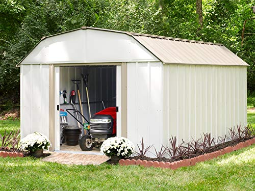Garden and Outdoor Arrow LX1014 10 x 14 ft. Barn Style Galvanized Taupe/Eggshell Steel Storage Shed outdoor storage sheds