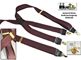 Hold-Ups Cordovan Burgundy Tone-on-Tone Jacquard Weave With X-Back Gold No-Slip Clips