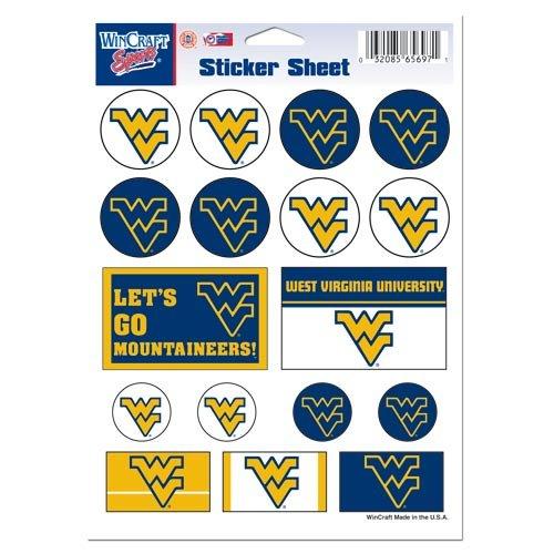 NCAA West Virginia University Vinyl Sticker Sheet, 5