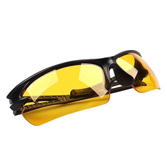 LINNUO Gafas de Sol Deportivas Hombre Mujer Polarizadas Anteojos Proteccion UV Sunglasses Eyewear Pesca Ski Golf Salir (Amarillo, Marco Negro, ...