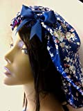 Ex-Lg Blue Floral Satin Bonnet/Satin Sleep Cap/Braid Cap/Dreadlock Cap