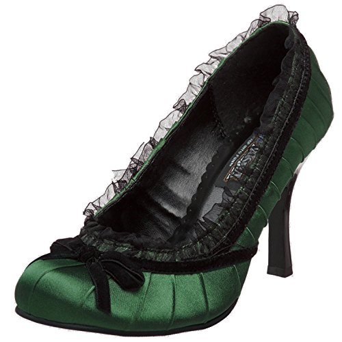 Womens Satin Pumps Lace Trim Shoes 3 1/2 Inch Heels Closed Round Toe With Bow Size: 11 Colors: Green Bow Trim Pump