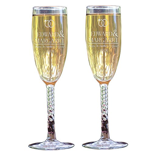 GiftsForYouNow Engraved Wedding Rings Personalized Toasting Flutes