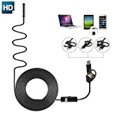 Borescope Endoscope, SOONHUA 3 in 1 Type-C and Micro USB for Android Phone and PC Inspection Camera High Definition Waterproof with 6 Adjustable LEDs 7.0mm Lens Diameter 3.5M Rigid Cable