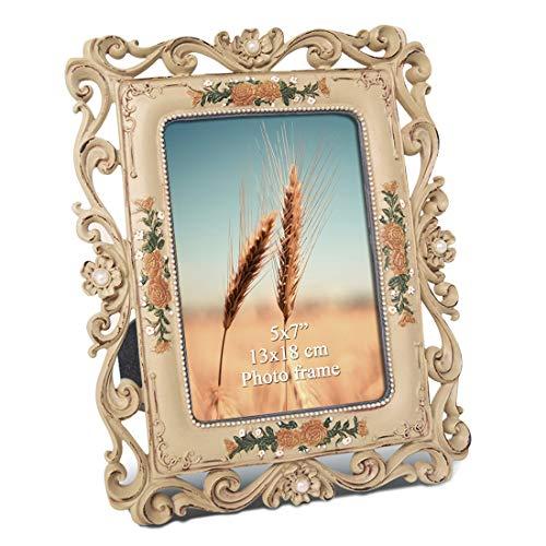 PETAFLOP 5x7 Antique Picture Frames for Home Decor Tabletop Keepsake Gift