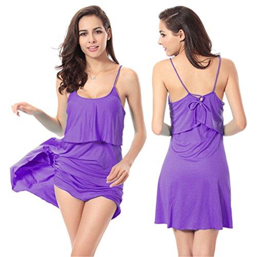 NEWZCERS Traje de baño de una sola pieza de la correa de espagueti de las mujeres atractivas vestido corto de la playa de la parte posterior del vestido traje de baño beachwear púrpura