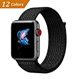 QIENGO Compatible with Apple Watch Band 42MM, Nylon Sport Loop with Hook and Loop Fastener Adjustable Closure Wrist Strap Replacment Band Compatible with iWatch Series 1/2/3, 42mm, N+Black