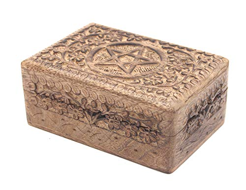 DharmaObjects Pentagram Star Carved Jewelry Trinket Keepsake Wooden Storage Box (Pentagram, Medium) (Pentagram Trinket)