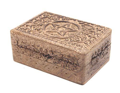 KayJayStyles Hand Carved Pentagram Wooden Storage Box (Medium, - Rosewood Box Tile