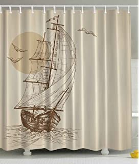 beige shower curtain nautical maritime art paintings decor by ambesonne love sailor old wooden sailboat