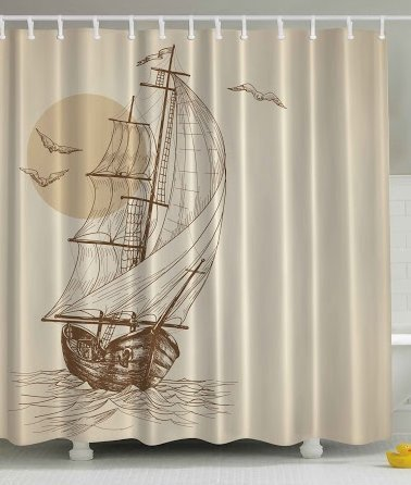 Beige Shower Curtain Nautical Maritime Art Paintings Decor by Ambesonne, Love Sailor Old Wooden Sailboat on Ocean Waves with Marine Seabirds Seagulls at Sunset Scenery Bathroom Fabric,Brown (Sailboat Shower Curtain compare prices)