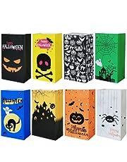 Halloween zakjes voor snoep, Halloween snoep cadeauzakjes papier, geschenkzakjes, 24Halloween papieren zakken met 30 stickers