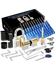 Luxebell Lock Picking, 33 stuks Lock Pick Set met 3 transparante hangsloten bieden 4 trainingsniveaus voor beginners en slotenmaker Training