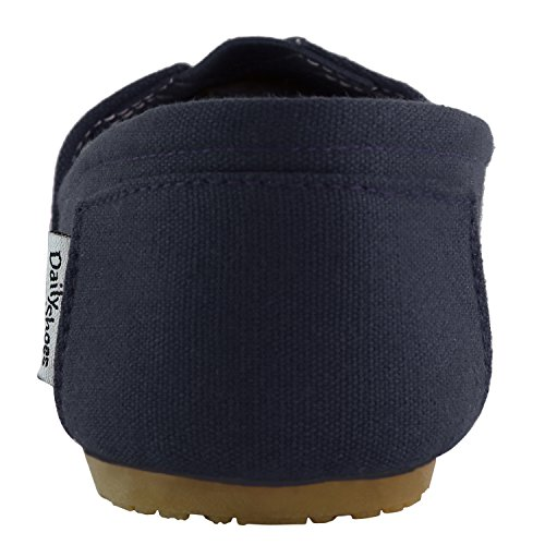 Dailyshoes Scarpe Da Donna Classiche Memory Foam Ammortizzate Morbide Daily Slip-on Casual Sneaker Flat Shoes Navy Linen