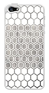 White Hexagon Geometric Pattern Wood Design Snap-On Cover Hard Plastic Case for iPhone 5/5S (White)