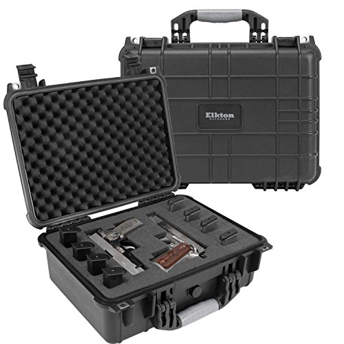 Elkton Outdoors Hard Gun Case: Fully Customizable Pistol Case: Holds 4 Handguns and 8 Magazines: Crush Resistant & Waterproof! (Four Pistol Case)