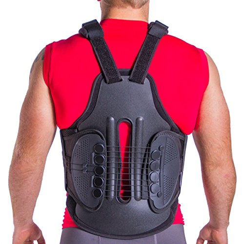 TLSO Thoracic Full Back Brace | Treat Kyphosis, Osteoporosis, Spine Compression Fractures, Wedge & Burst Fractures, Upper Spine Injuries & Post Surgery Support (Medium) by Cybertech Medical
