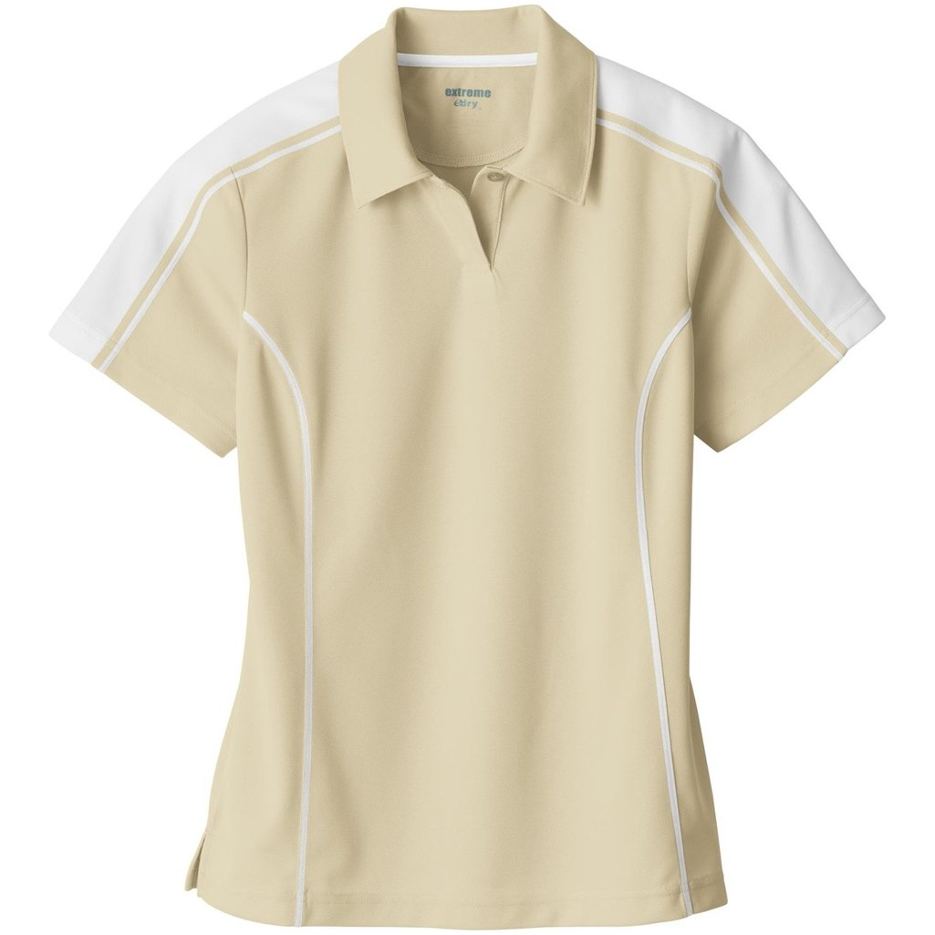 Ash City Ladies Extreme E Performance Pique Polo Shirt (XX-Large, Sand/White) by Ash City Apparel