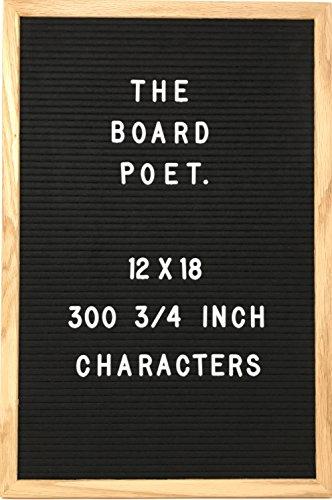 Classic Black Felt Letter Board - 12 X 18 Inch w/ Solid Oak Frame and 300 3/4