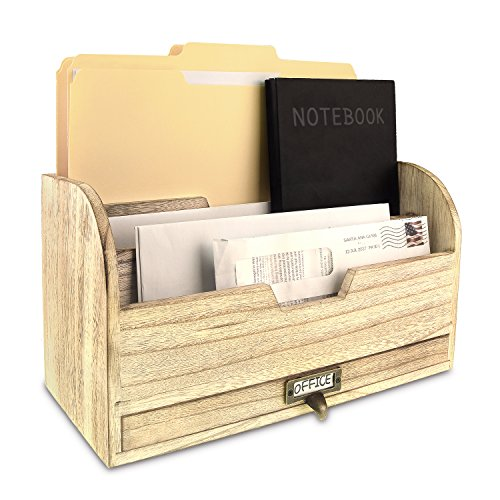 Ikee Design Wooden Desktop Organizer for Sorting Letters, Files, Documents, and Books with Drawers, Oak Color ()