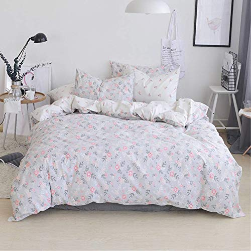 Floral Duvet Cover Queen 100 Percent Pure Cotton Bedding Sets Full Girls Reversible 3 Piece Comforter Cover Queen Ultra Soft Garden Fresh Floral Duvet Cover Queen with Zipper Closure,4 Corner Ties