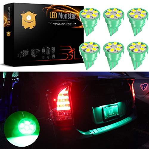 LED Monster Green LED Bulbs 6-SMD Car License Plate Lamp Bulb T10 194 168 W5W (6)