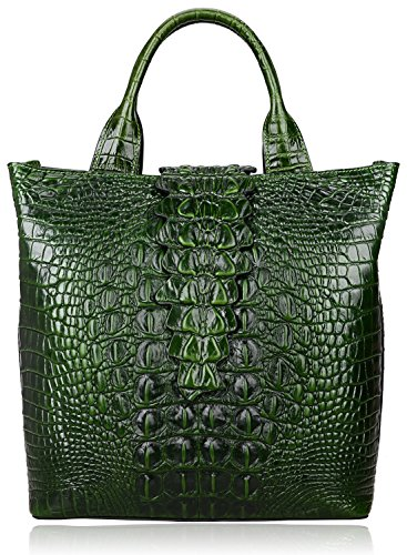 Pijushi Embossed Crocodile Leather Tote Top Handle Handbags 6061 (One Size, Green)