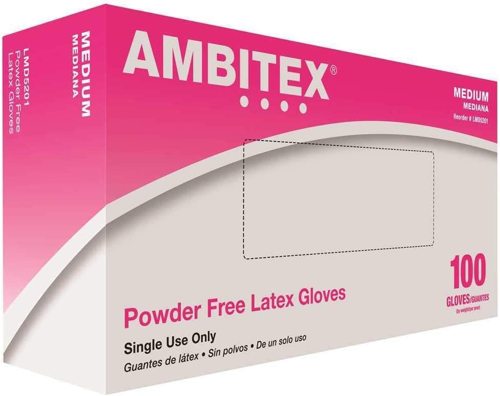 Ambitex LMD5201 Medium Latex Disposable Powder-Free USDA-Approved Gloves (100 Gloves)