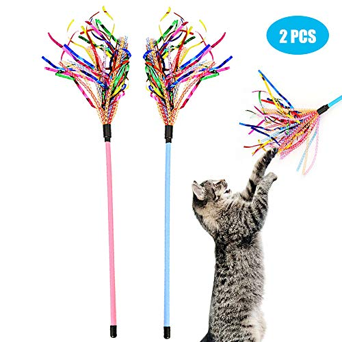 Cat Toy Wand 4PCS Interactive Cat Feather Toy Cat Teaser with Sound Paper Tassels and Soft Line Tube