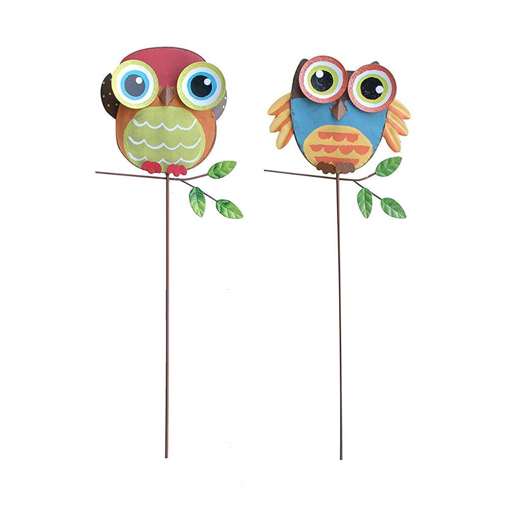 """Metal Owl Garden Stake Lawn Yard Landscape Ornaments Outdoor Decorations Set of 2 (15.75"""" H)"""