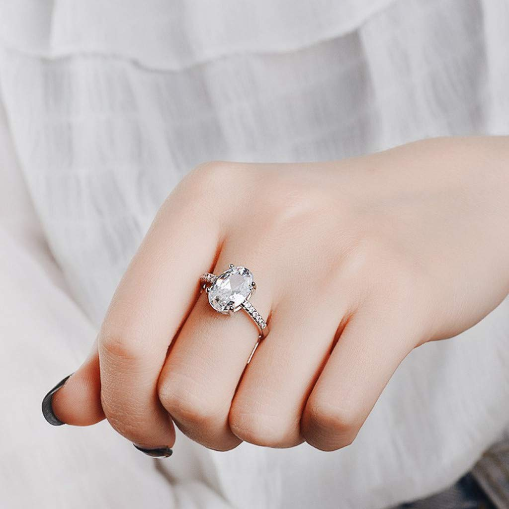 Fxbar Stylish Oval Cubic Zirconia Rings Dainty Full Zircon Promise Rings for Couples Women Fashion Engagement Jewelry