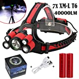 40000 LM 7X XM-L T6 LED Rechargeable Headlamp Headlight Travel Head Torch Red