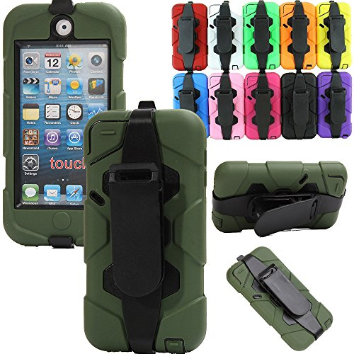 (Generic For ipod touch 5 Case, Shockproof Tough Armor Rugged 3 Layer Protection Defender Heavy Duty Military Hybrid Belt Clip Case With Built-in Screen Protector For Ipod Touch 5 th Generation Only (Army Green))