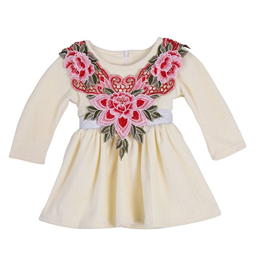 [Halloween 3D Floral Kids Baby Girl Dress Long Sleeve Fancy Princess Costume For Christmas (2-3 Years, Yellow)] (Christmas Fancy Dress Baby)