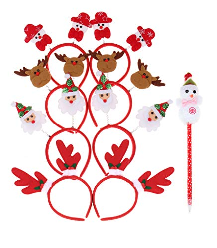 RufnTop Merry Christmas X-mas Santa Rudolph Snowman Headband for Boys and Girls Costume Accessory for Party or Celebrations(Mix Pack of 9) ()