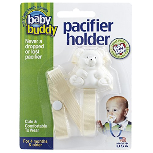 Baby Buddy Pacifier Holder Clip - Cute Fashionable Bear Clips onto Baby's Shirt, Snaps to Paci, Teether, Toy - For Babies 4+ Months - Pacifier Clip for Toddlers Boys & Girls, Cream, 1 Count