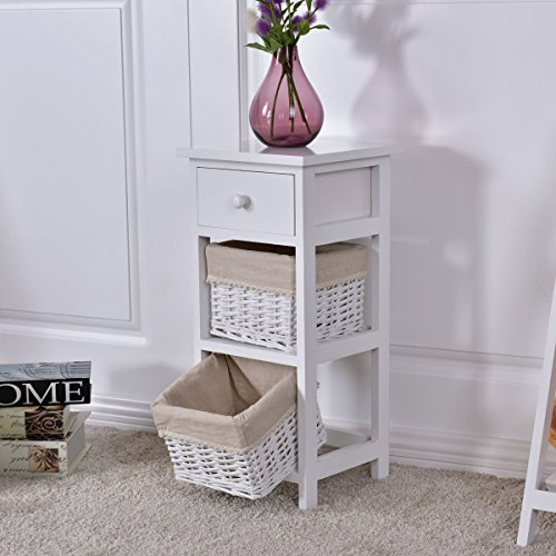 Giantex Set Of 2 Wooden Bedside Table Nightstand Chest Cabinet Bedroom Furniture Drawer Baskets